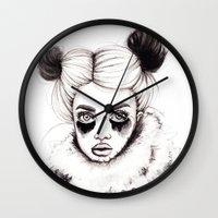 red panda Wall Clocks featuring Panda by Nora Bisi