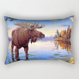 Big Elk Moose Grazing In Pond Ultra HD Rectangular Pillow