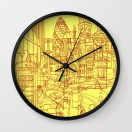 London! Yellow/Red Wall Clock