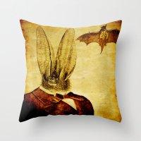 bat man Throw Pillows featuring Bat-Man by Ganech joe