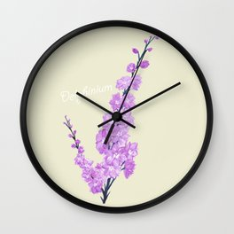 Delphinium Flowers Wall Clock
