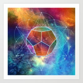 Abstract Sacred Geometry Cosmic Space Tapestry Art Print