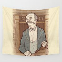 wes anderson Wall Tapestries featuring Monsieur Ivan or Bill Murray on The Grand Budapest Hotel from Wes Anderson by suPmön