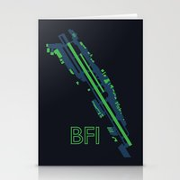 seahawks Stationery Cards featuring Boeing Field (BFI) - Seahawks by Kyle Rodgers