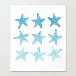 Blue Watercolor Starfish Canvas Print