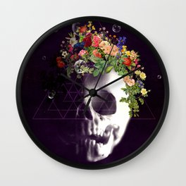Skull with flowers no1 Wall Clock