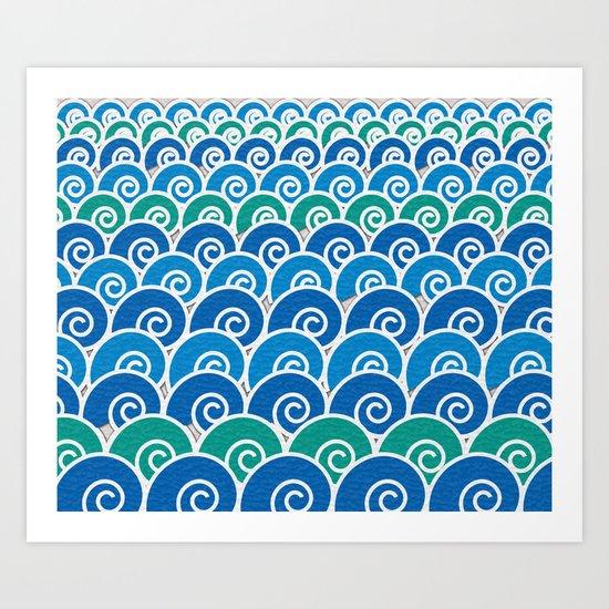 Blue Beach Waves Art Print