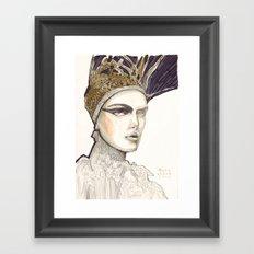 Portrait illustration in golden markers and pencils Framed Art Print
