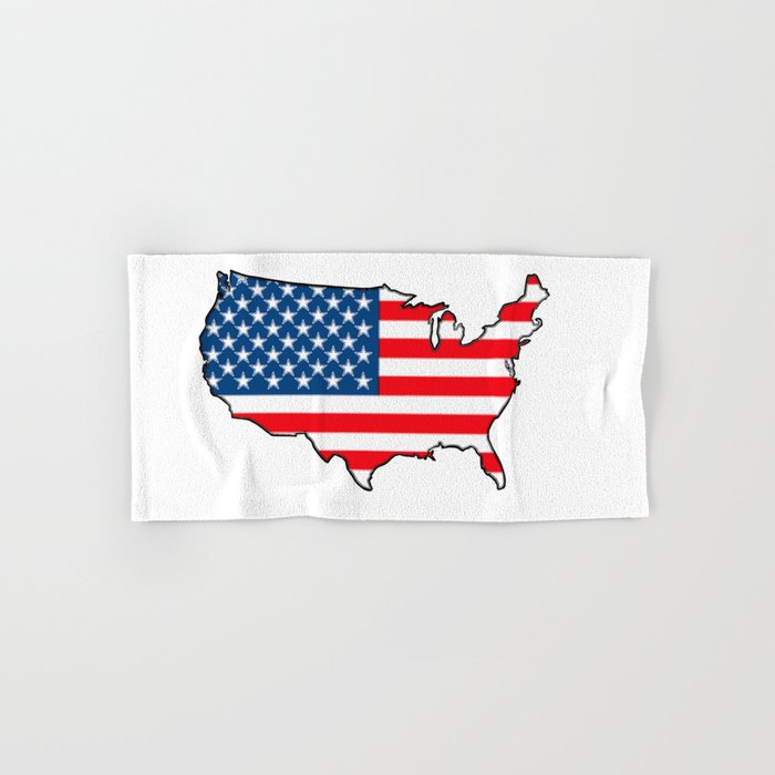 United States Map With American Flag Hand Bath Towel By Havocgirl - American-flag-us-map