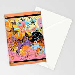 Peach Colored Monarch  Butterflies Carnival Fantasy Art Stationery Cards
