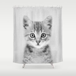 Kitten - Black & White Shower Curtain
