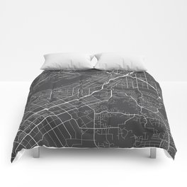 Riverside Map, USA - Gray Comforters
