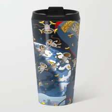 Space Monkeys Go Bananas! Metal Travel Mug