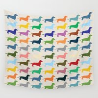 dachshund Wall Tapestries featuring Dachshund by Opul