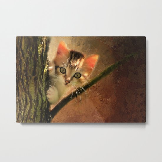 Little cute kitten on a tree Metal Print