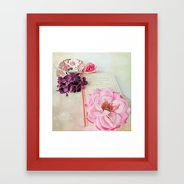 Pink Book with Flowers Framed Art Print