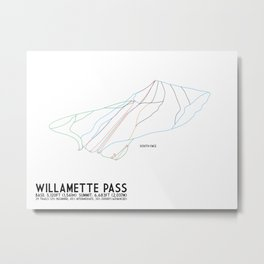 Willamette Pass, OR - South Face - Minimalist Winter Trail Art Metal Print
