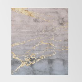 Watercolor Gradient Gold Foil IV Throw Blanket