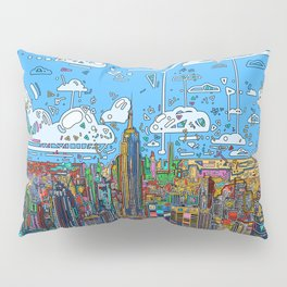 new york city skyline colorful Pillow Sham