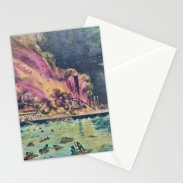 Nathaniel Currier - Awful Conflagration of the Steam Boat Lexington in Long Island Sound on Monday Eve Stationery Cards