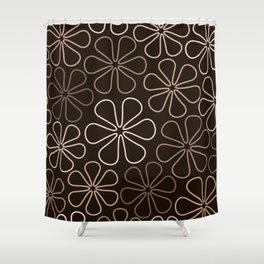 Abstract Flower Outlines Browns and Creams Shower Curtain