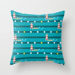 Seamless pattern with colorful  sea Throw Pillow