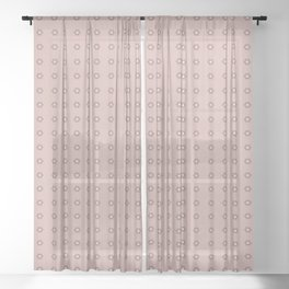 Minimalist Small Acrylic Dotted Flowers, Blush and Rose Dust Sheer Curtain
