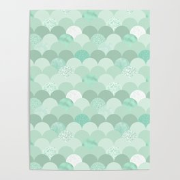 Geometrical mint green white elegant scallop pattern Poster