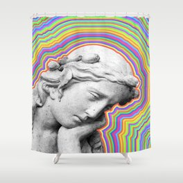 Psychedelic statue girl Shower Curtain