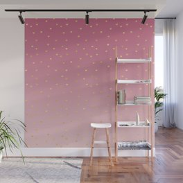 Gold Hearts Blush Pink Ombre Wall Mural