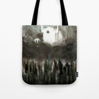powerpuff girls Tote Bags featuring powerpuff girls fight huge eyes by R,oh