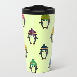 Penguins with colorful beanies Travel Mug