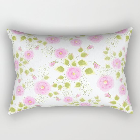 Pink flowers on a white background Rectangular Pillow