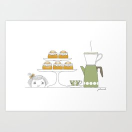 Fika with Semlor Art Print