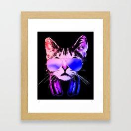 DJ Cat in Neon Framed Art Print