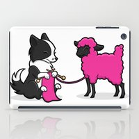 border collie iPad Cases featuring Border Collie Knitting by Diony Cook Rouse