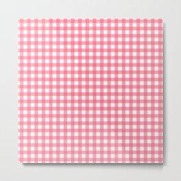 Pink Gingham Metal Print