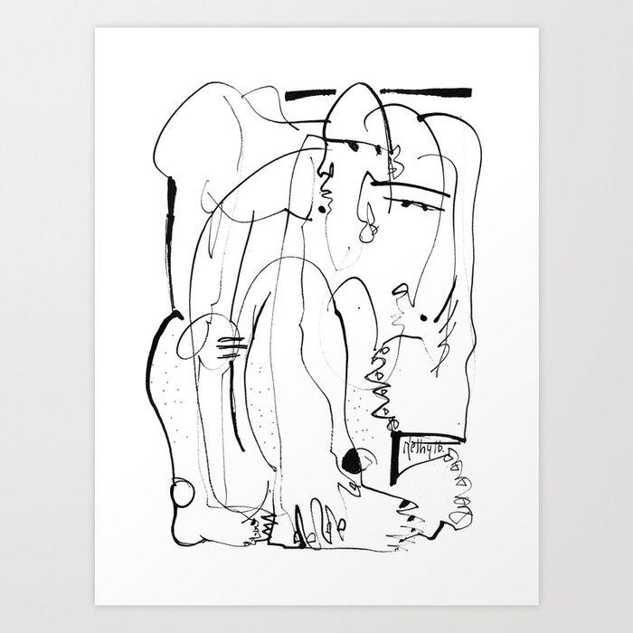 Therapy - b&w Art Print