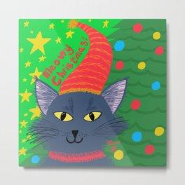 Christmas Cat Long Blue-grey hair Yellow Eyes Metal Print