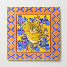 CORAL & BLUE LATTICE & YELLOW ROSE BLUE MORNING GLORY FLOWERS Metal Print