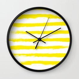 Sunny Yellow STRIPES Handpainted Brushstrokes Wall Clock