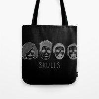 bastille Tote Bags featuring Bastille Skulls by wellsi