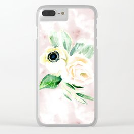 Impermanent Flowers in Pink Clear iPhone Case