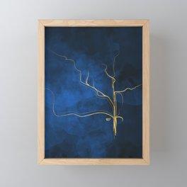 Kintsugi Electric Blue #blue #gold #kintsugi #japan #marble #watercolor #abstract Framed Mini Art Print