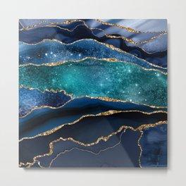 Blue Night Galaxy Marble Metal Print