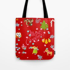 marry christmas pattern red Tote Bag