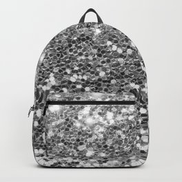 Chic faux silver abstract sequins glitter modern pattern Backpack