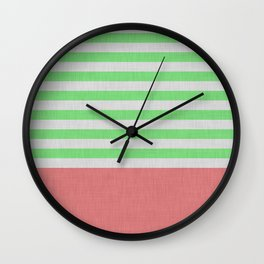 Green and orange stripes and color block Wall Clock