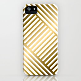 Art Deco Gold and Eggshell White Geometric Pattern iPhone Case