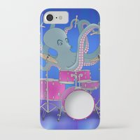 drums iPhone & iPod Cases featuring Octopus Playing Drums - Blue by Ornaart